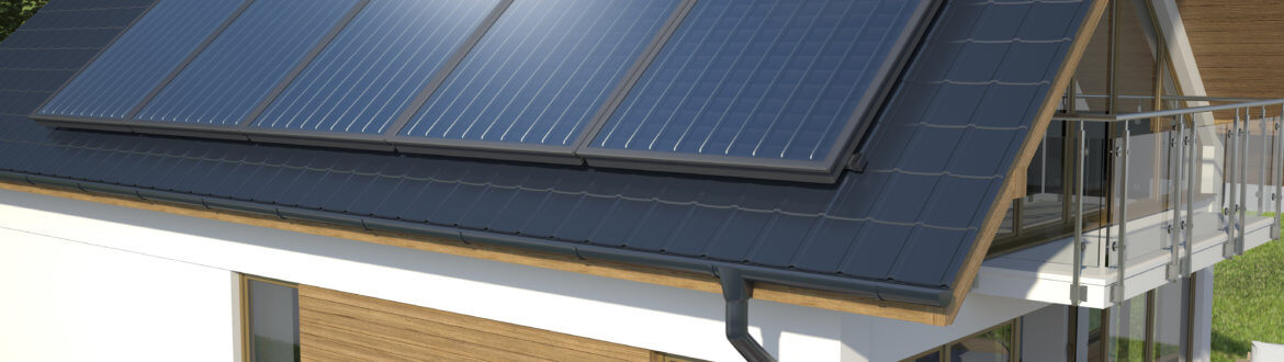 Solar system on the roof, 3D illustration